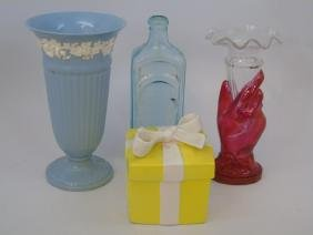 Group Lot Wedgwood Vase, Fitz & Floyd Box Bottle