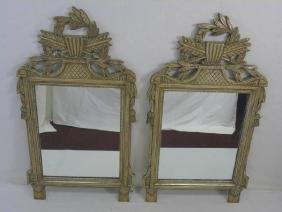 Pair Contemporary Gold Leaf Neo Classical Mirrors