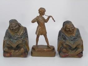Pair Ruhl Bookends & Pompeian Bronze Statue