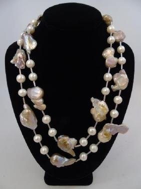Contemporary Artisan Baroque Pearl Necklace Strand