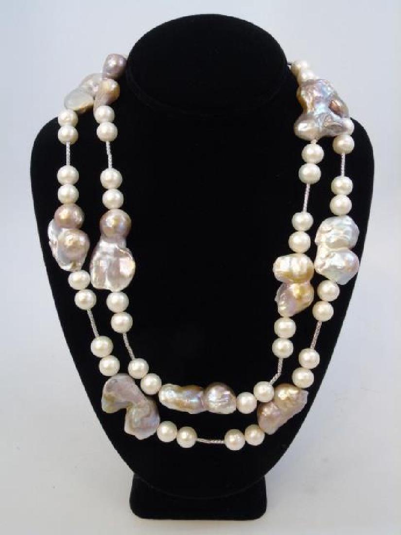 Contemporary Artisan Baroque Pearl Necklace Strand