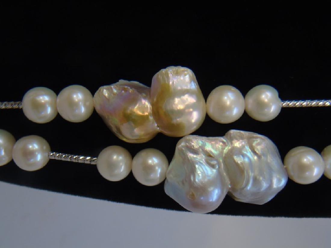 Contemporary Artisan Baroque Pearl Necklace Strand - 2