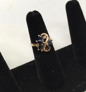 Vintage Yellow Gold Diamond & Sapphire Ring