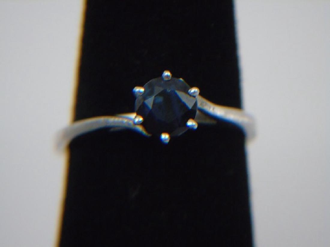 14K White Gold & Blue Topaz Ring Size 5 1/2