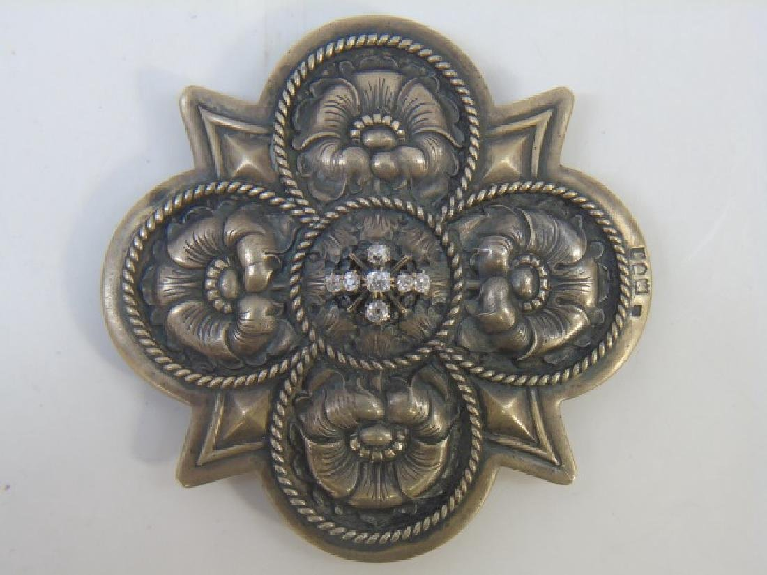 Antique Art Nouveau Sterling & Diamond Belt Buckle
