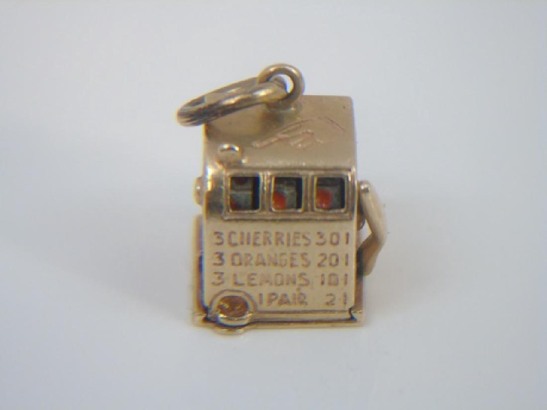 Estate 14k Yellow Gold Slot Machine Pendant Charm - 3
