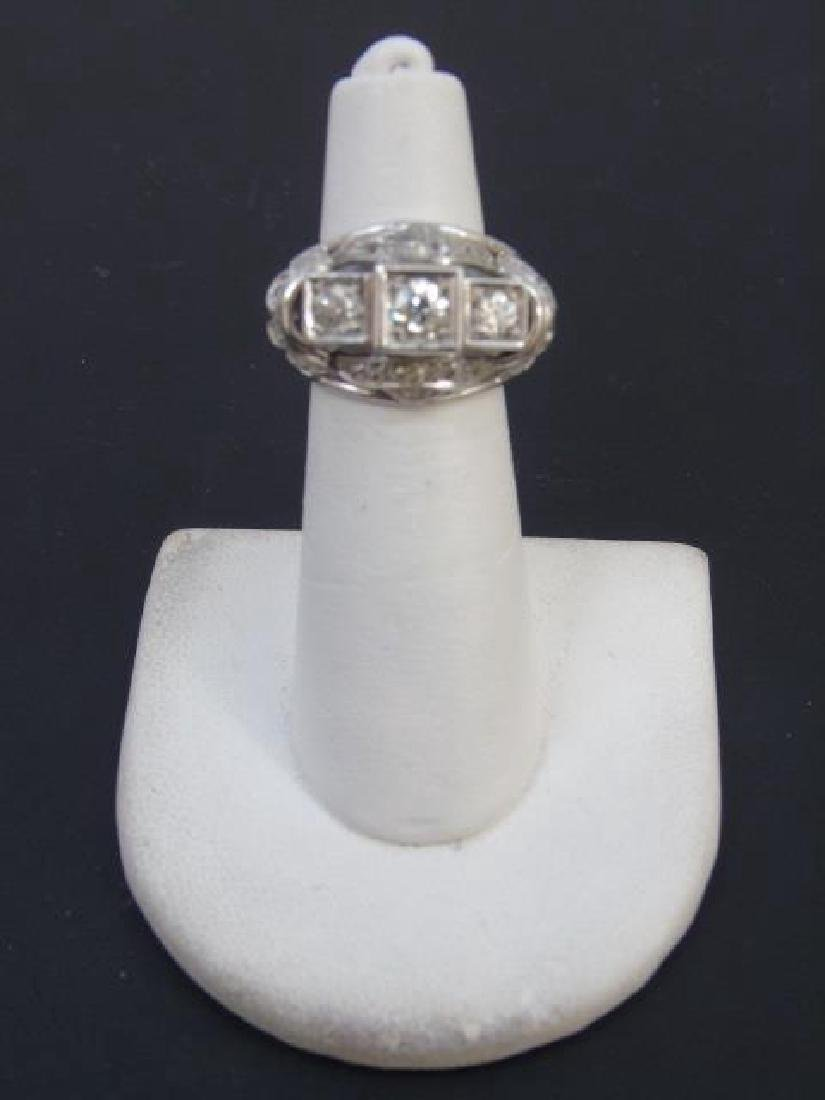 Estate White Gold & Diamond Cocktail Ring - 3
