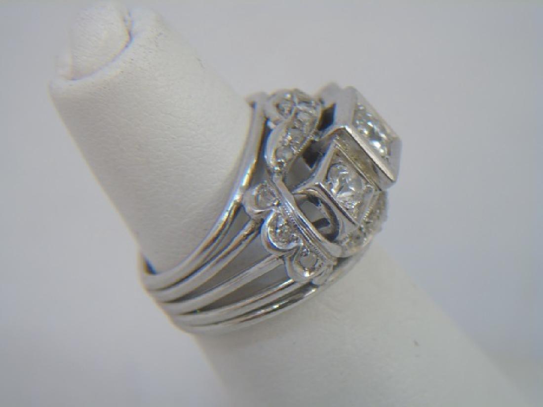 Estate White Gold & Diamond Cocktail Ring - 4