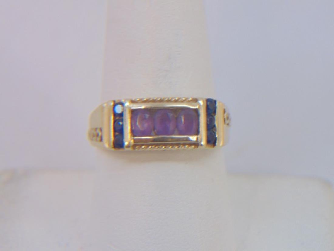 Estate Antique 10kt Gold Amethyst Sapphire Ring