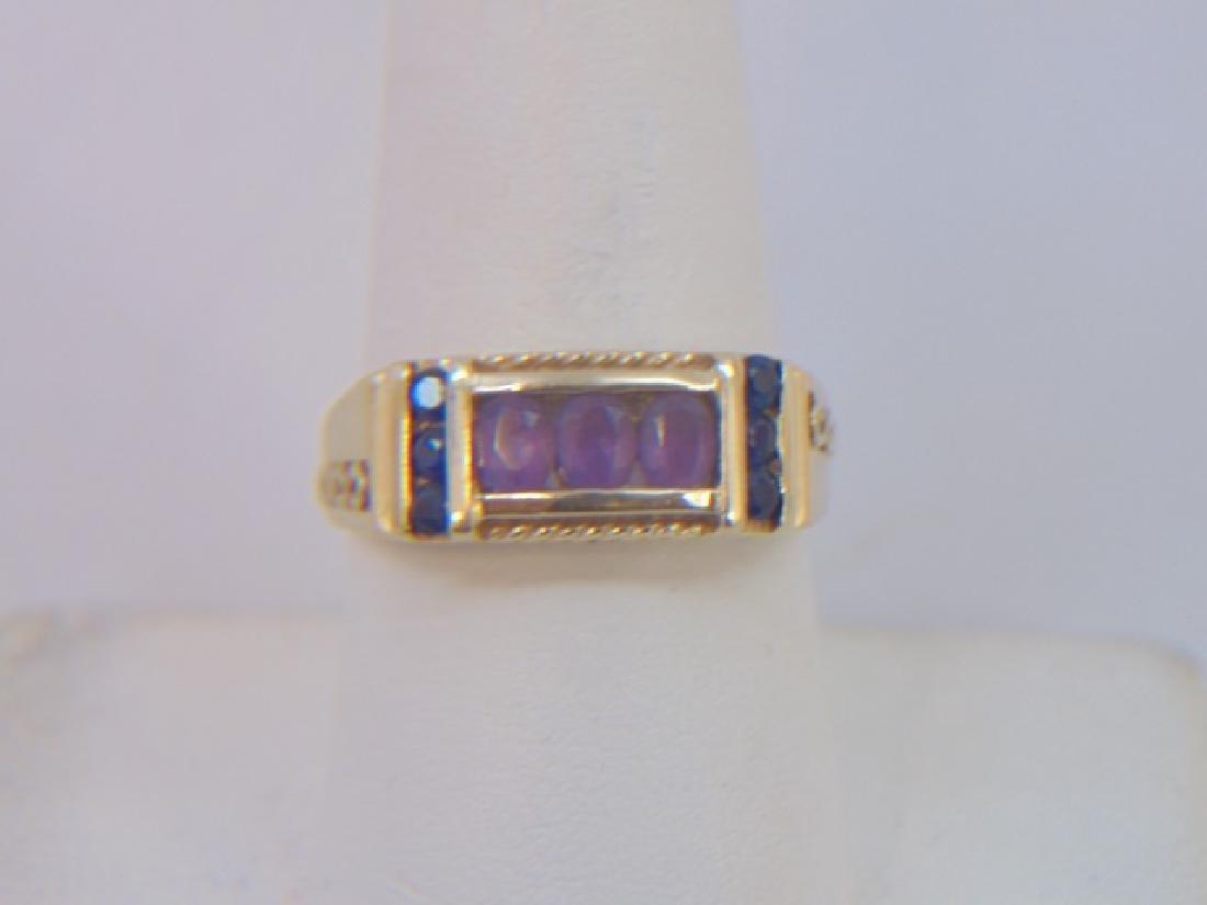 Estate Antique 10kt Gold Amethyst Sapphire Ring