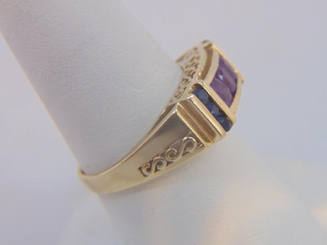 Estate Antique 10kt Gold Amethyst Sapphire Ring - 3