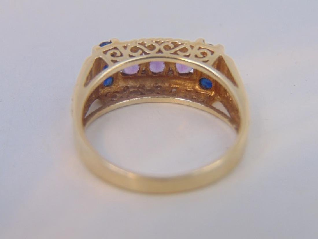 Estate Antique 10kt Gold Amethyst Sapphire Ring - 4