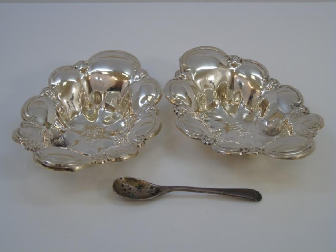 Pair Antique Sterling Silver Salt Cellars & Spoon