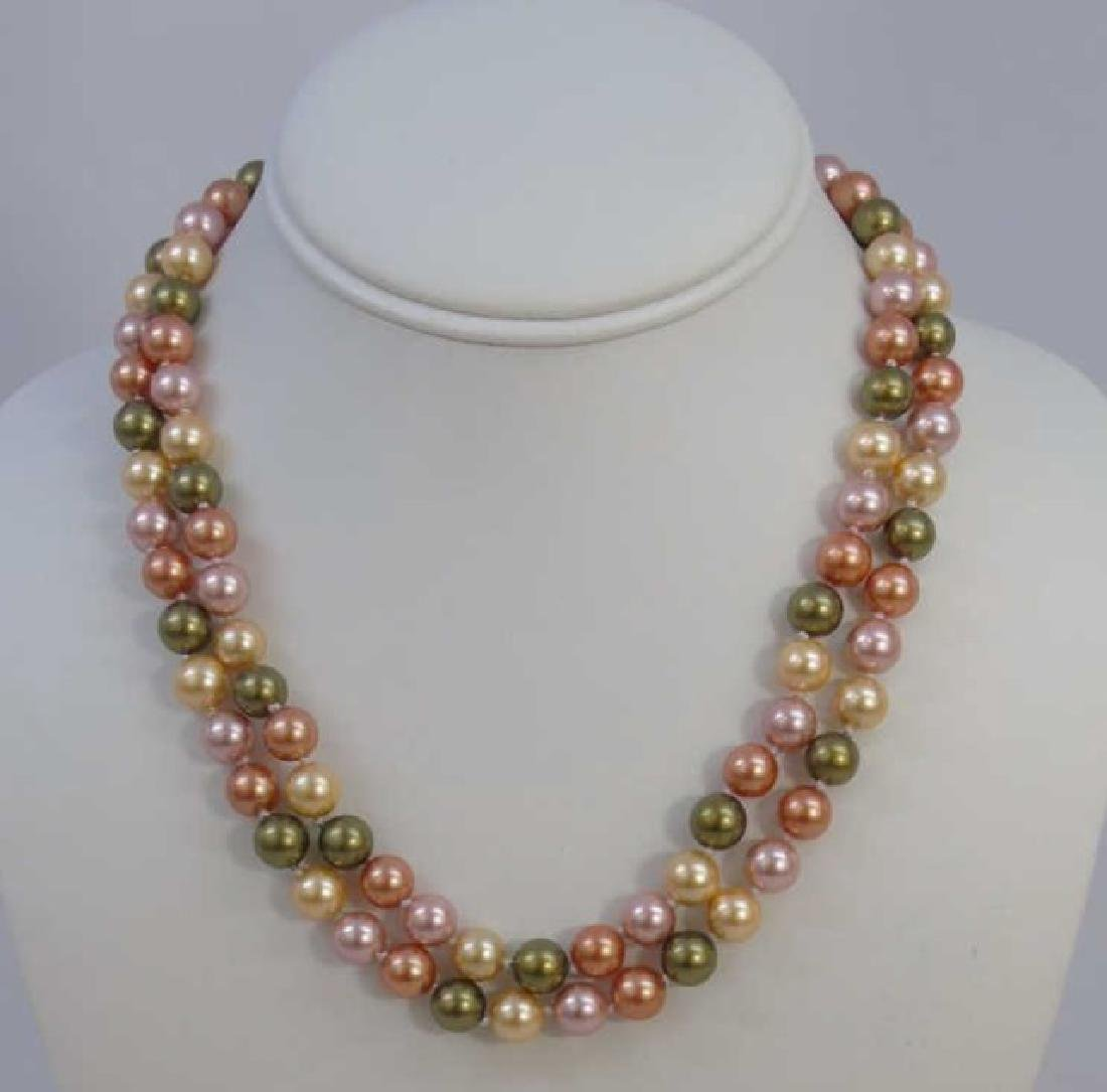 Pair South Sea Style Colored Pearl Necklace Strand