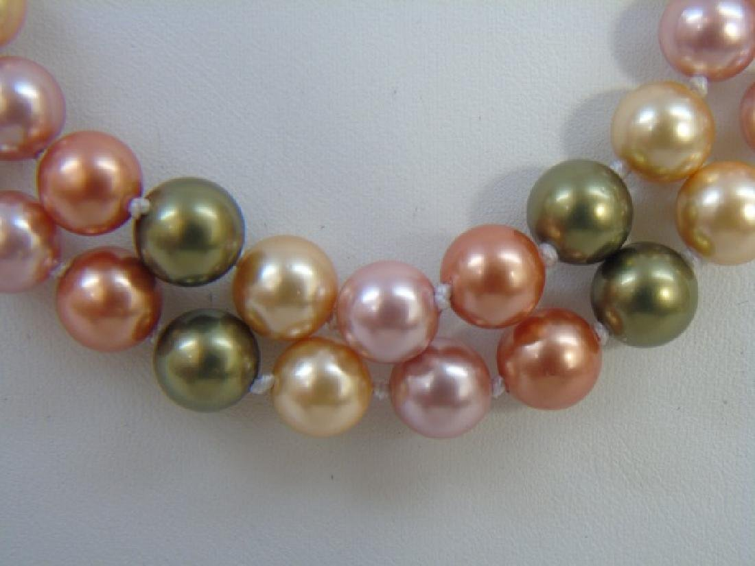 Pair South Sea Style Colored Pearl Necklace Strand - 2