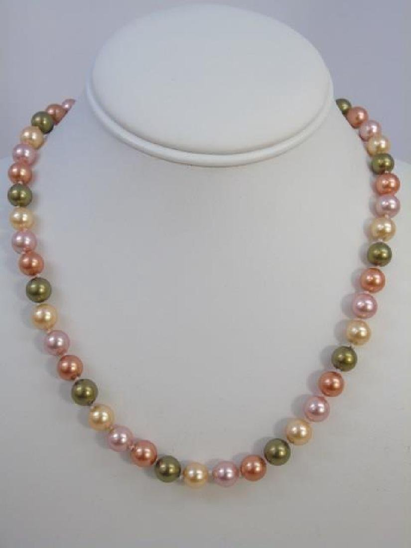 Pair South Sea Style Colored Pearl Necklace Strand - 3