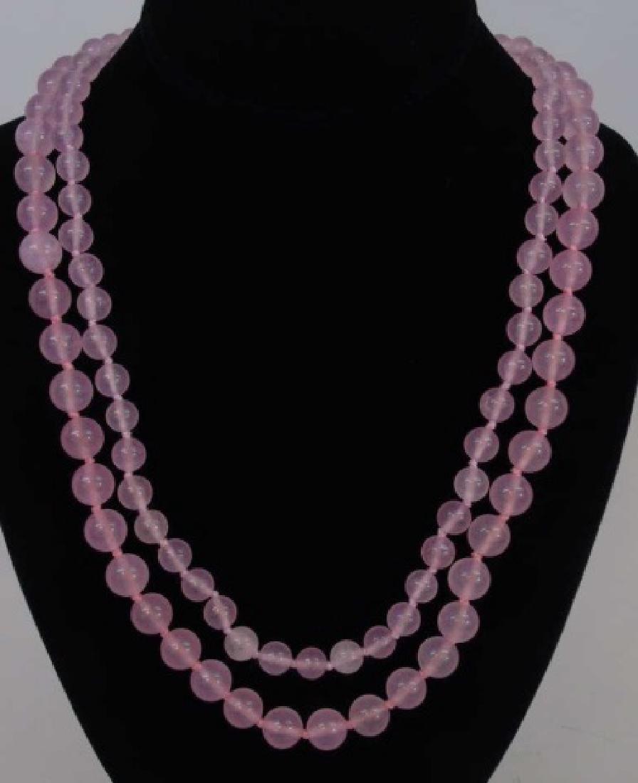 Pair 34 Inch Beaded Rose Quartz Necklace Strands