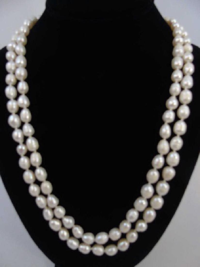 60 Inch White Baroque Pearl Necklace Strand