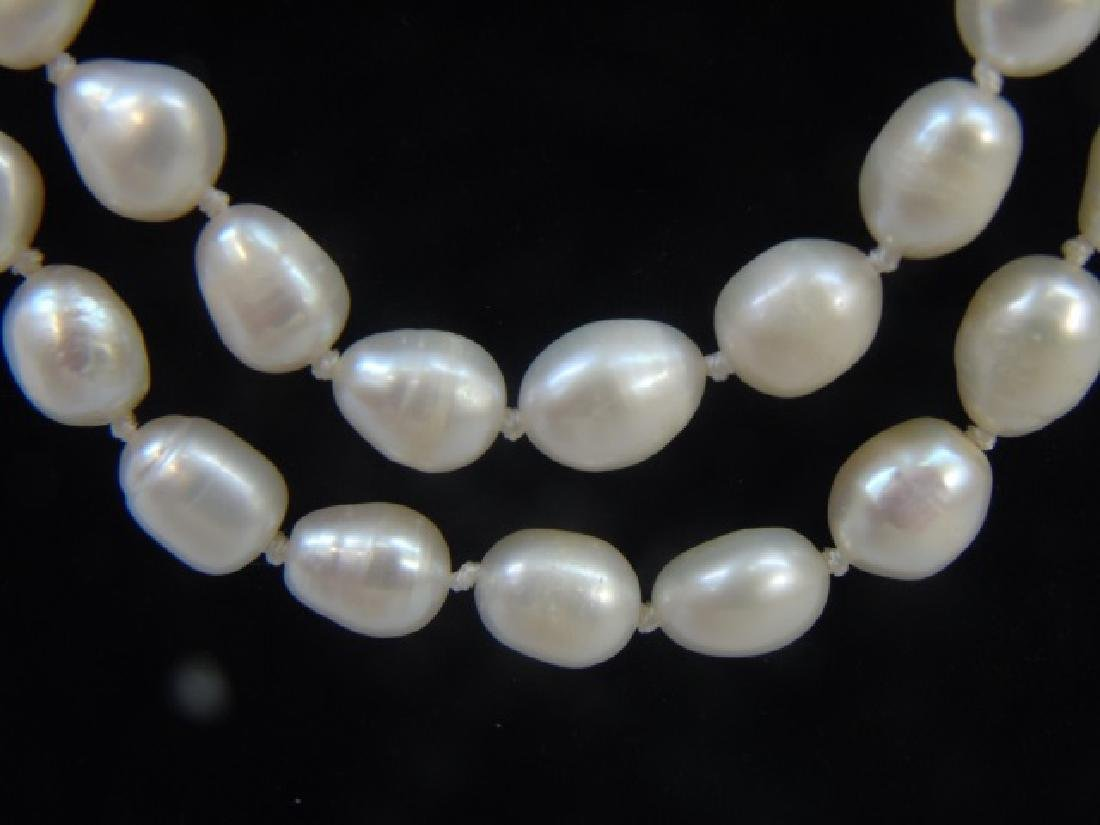 60 Inch White Baroque Pearl Necklace Strand - 2
