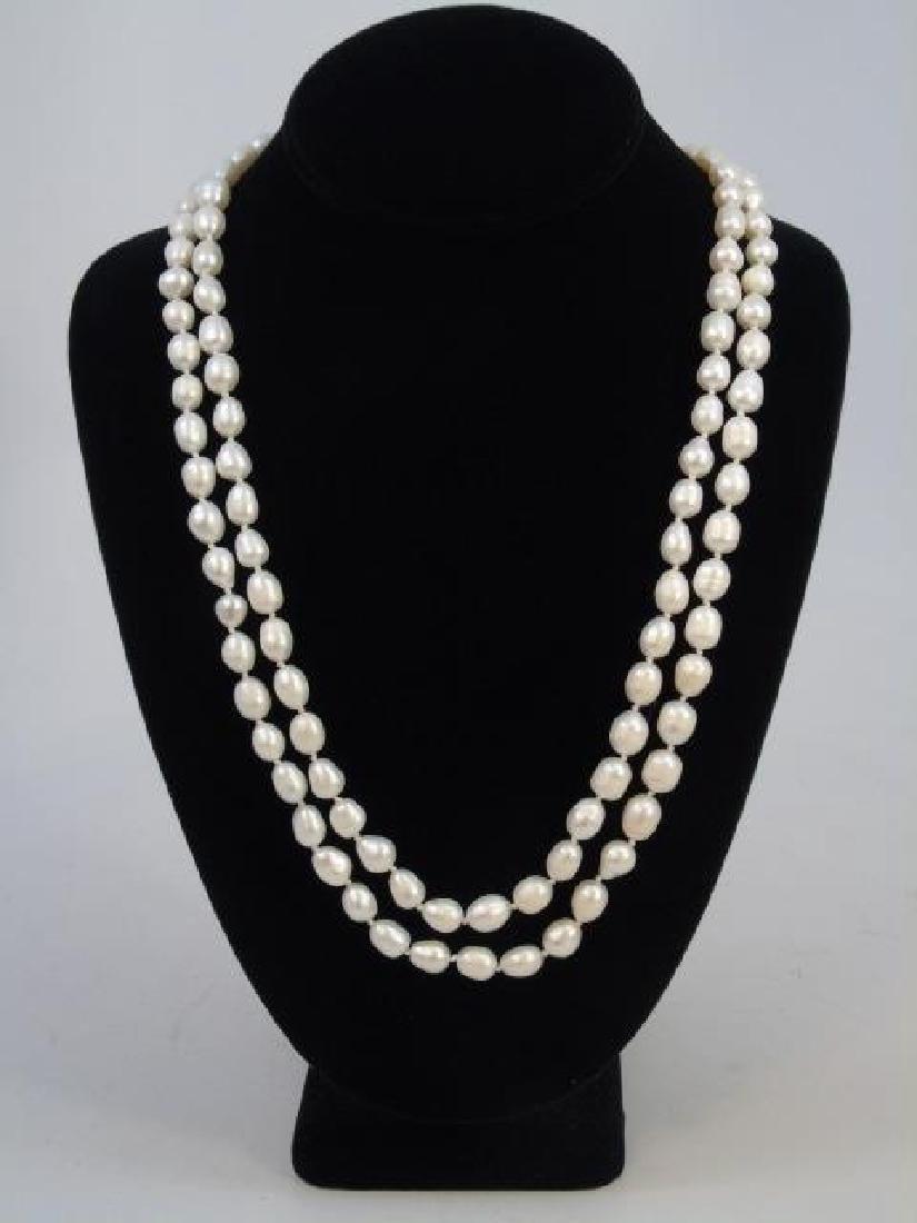 60 Inch White Baroque Pearl Necklace Strand - 3