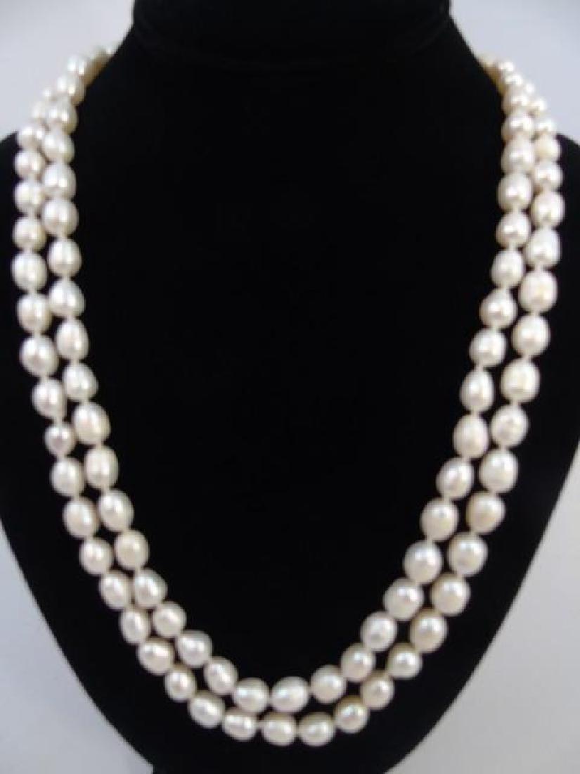 60 Inch White Baroque Pearl Necklace Strand - 4