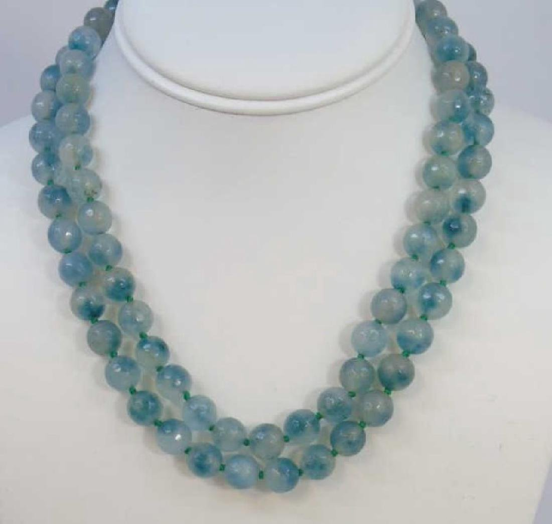Pair Faceted Green Spinel Hand Knotted Necklaces