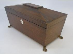 English Georgian Style Mahogany & Bone Tea Caddy
