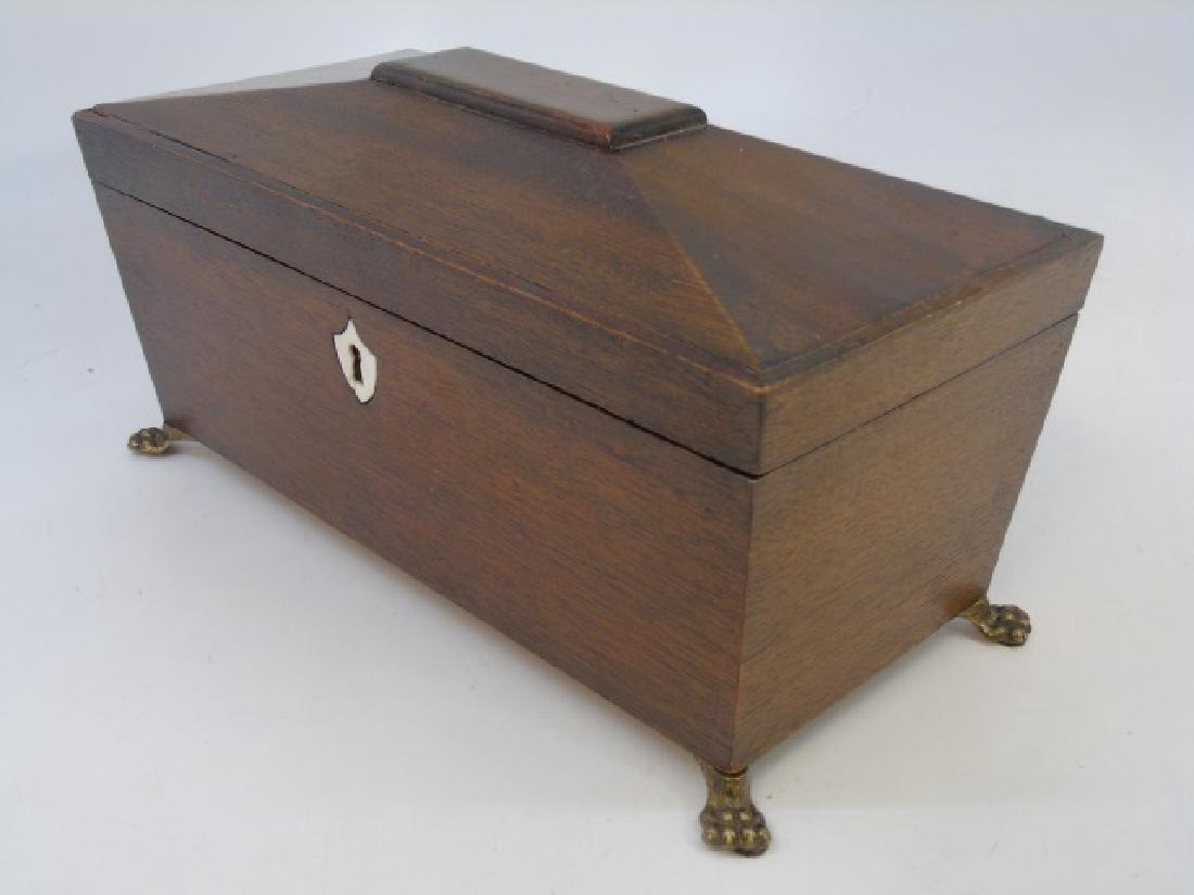 English Georgian Style Mahogany & Bone Tea Caddy