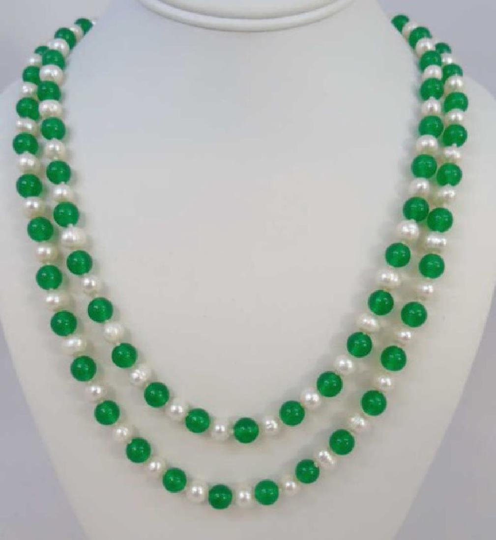 Pair Green Jade & Baroque White Pearl Necklaces
