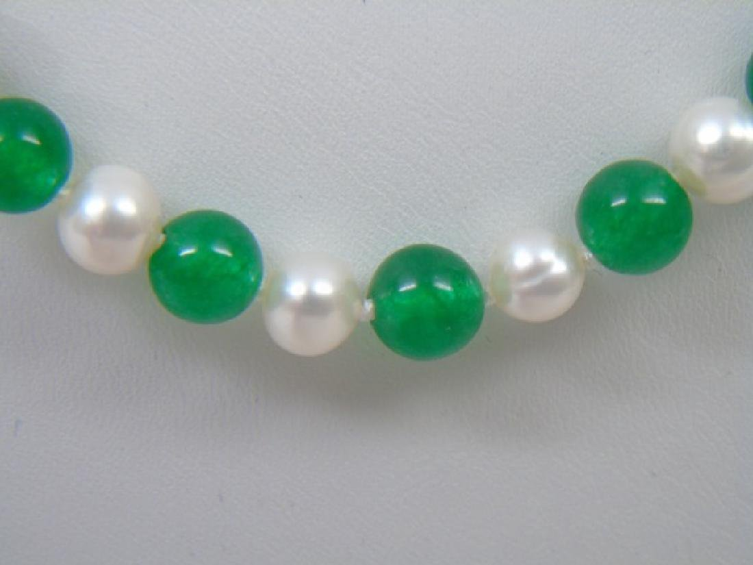 Pair Green Jade & Baroque White Pearl Necklaces - 2