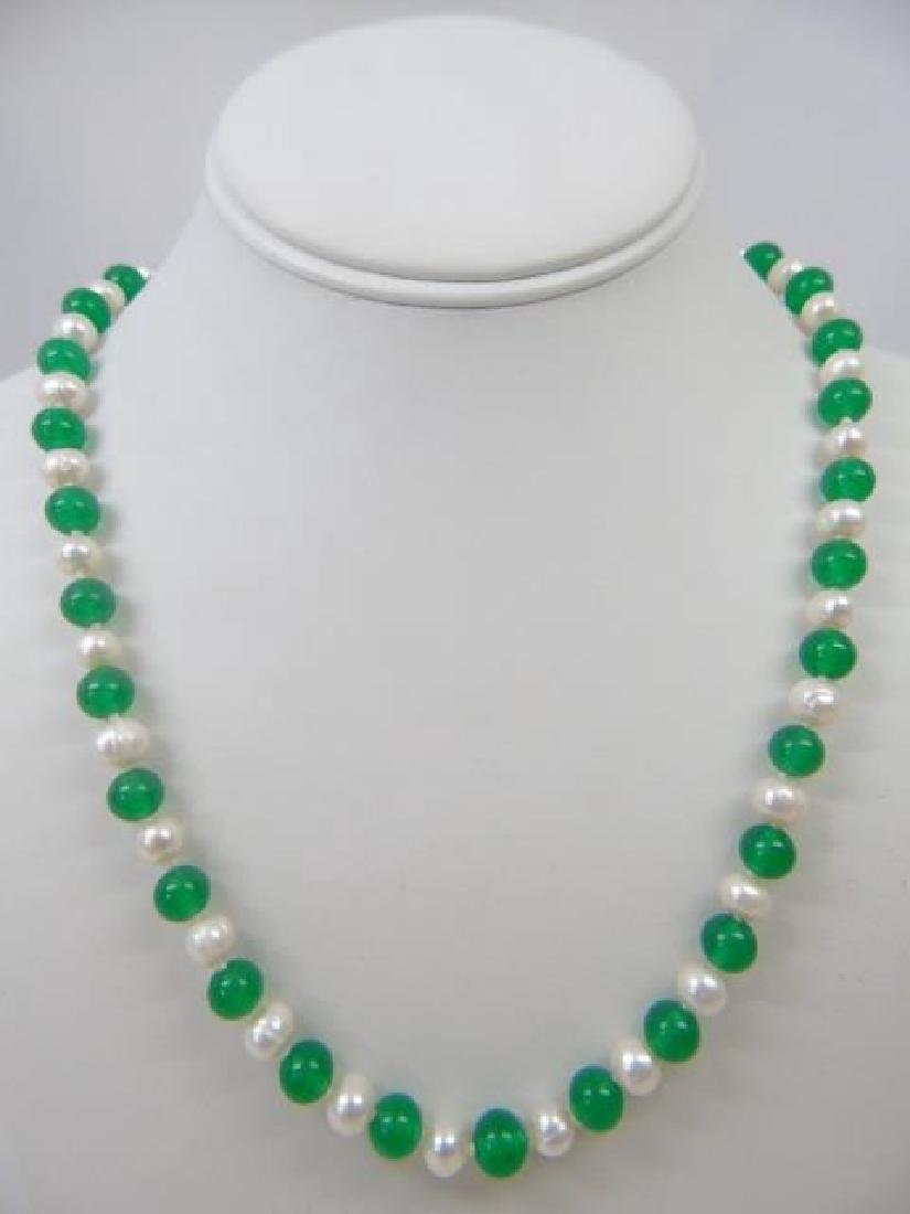 Pair Green Jade & Baroque White Pearl Necklaces - 3
