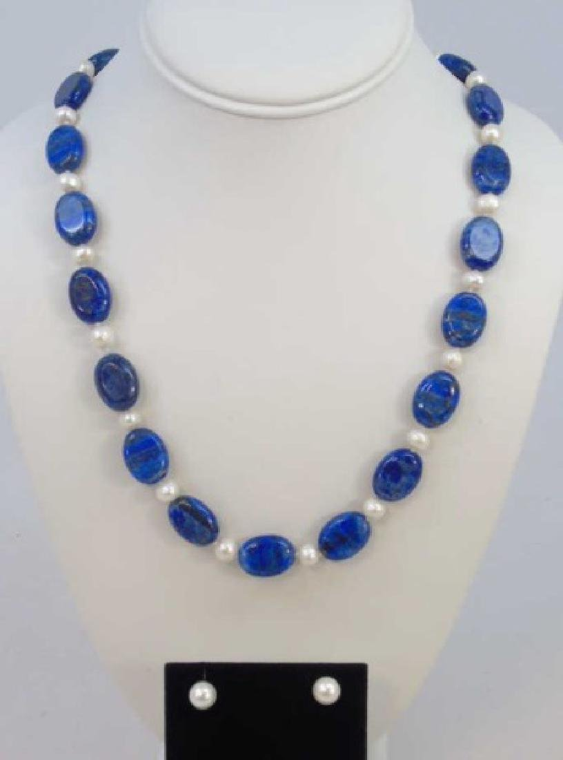 Lapis & White Baroque Pearl Necklace & Earrings