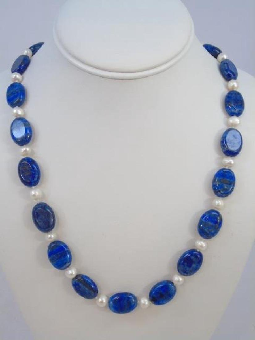 Lapis & White Baroque Pearl Necklace & Earrings - 3