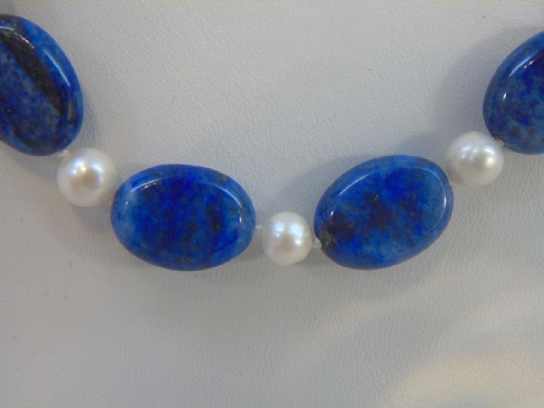 Lapis & White Baroque Pearl Necklace & Earrings - 4