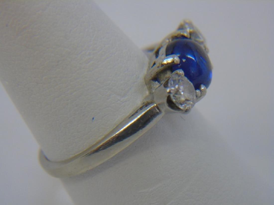 Estate 14kt White Gold Sapphire & Diamond Ring - 3