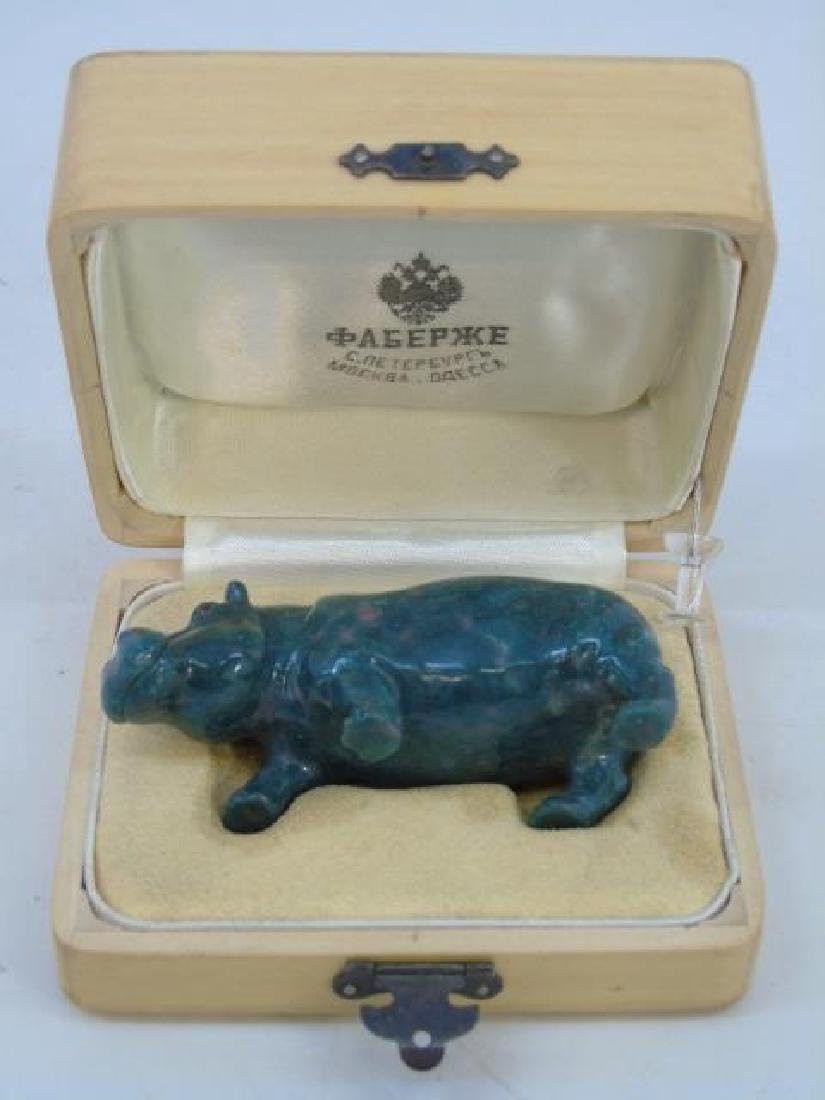 Imperial Russian Carved Hardstone Hippo Statue