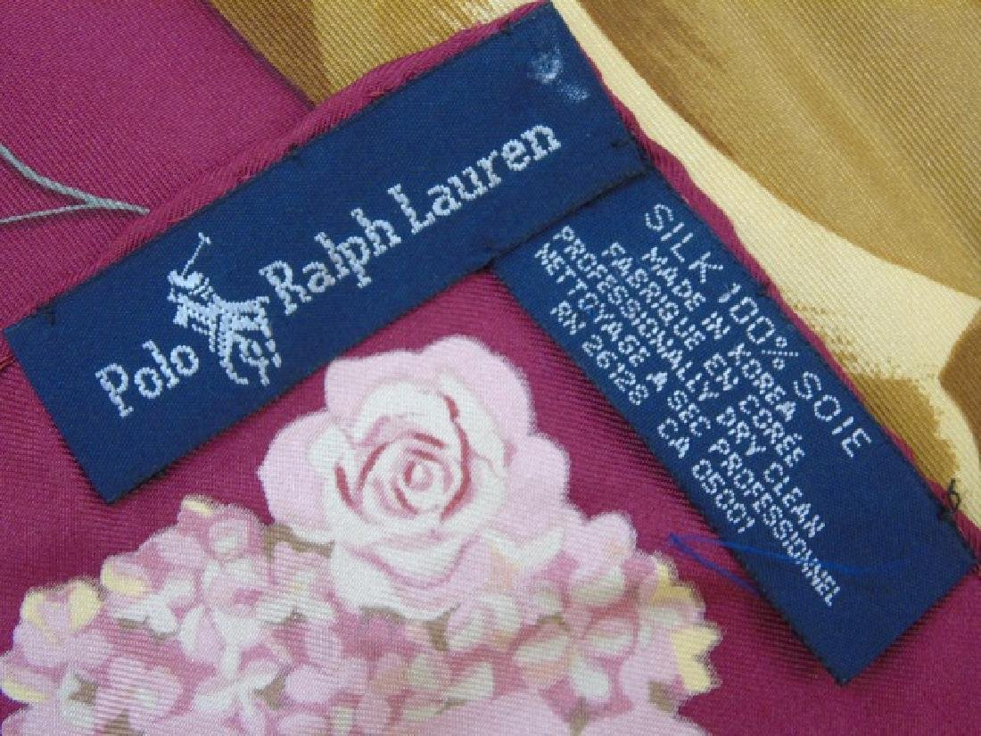 Ladies Floral Motif Ralph Lauren Silk Scarf - 2