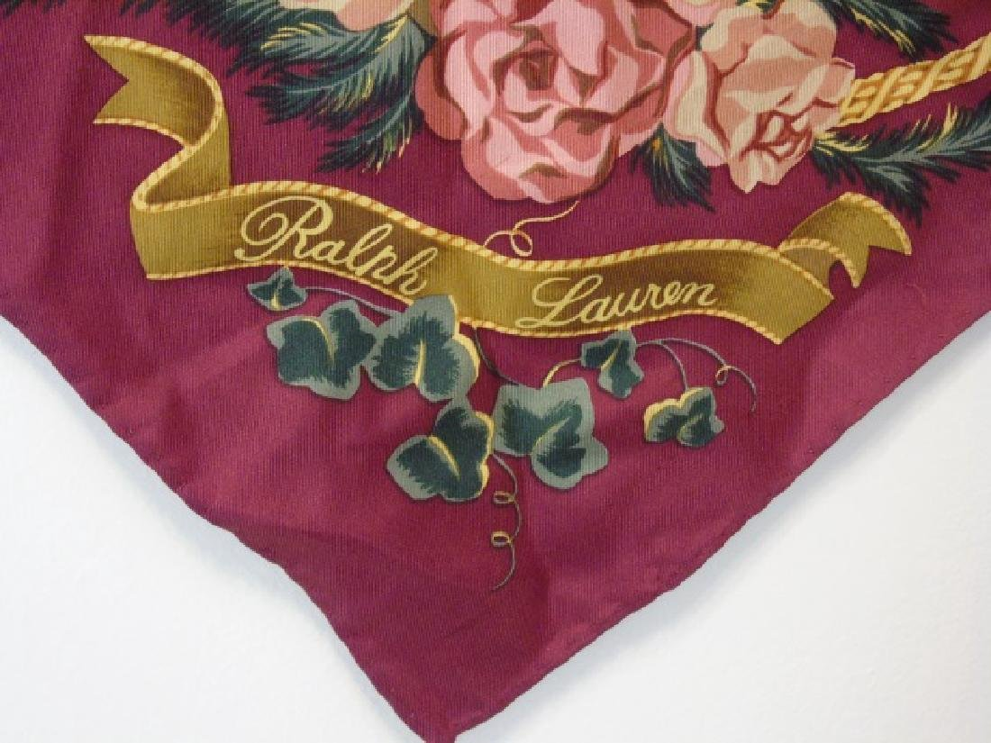 Ladies Floral Motif Ralph Lauren Silk Scarf - 4