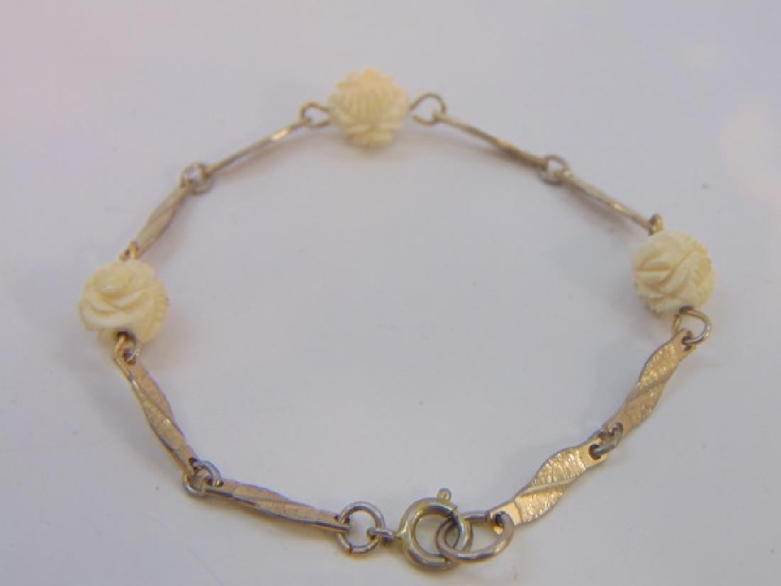 Two Antique Chinese Hand Carved Bone Bracelets - 2