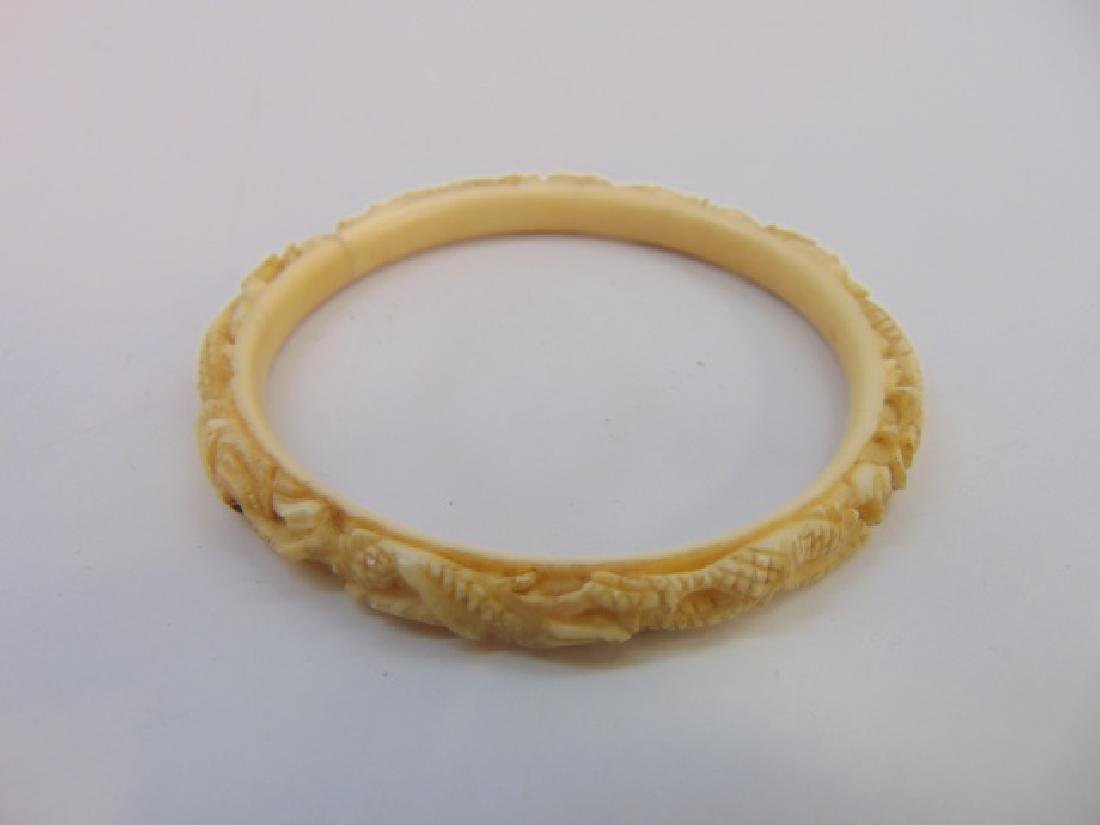 Two Antique Chinese Hand Carved Bone Bracelets - 5