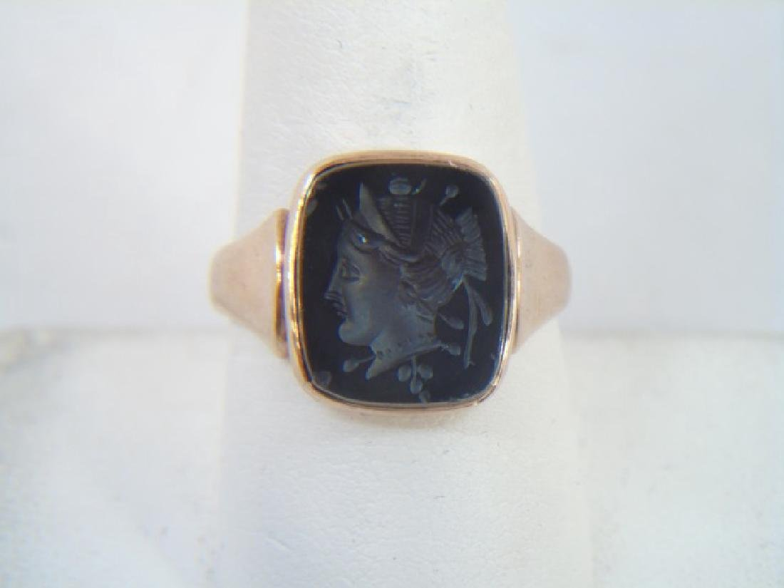 Antique Yellow Gold & Onyx Warrior Intaglio Ring