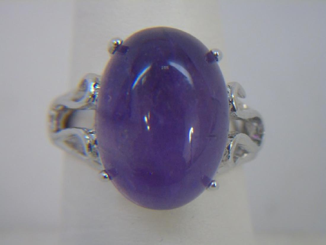 Large Cabochon Amethyst & Sterling Cocktail Ring