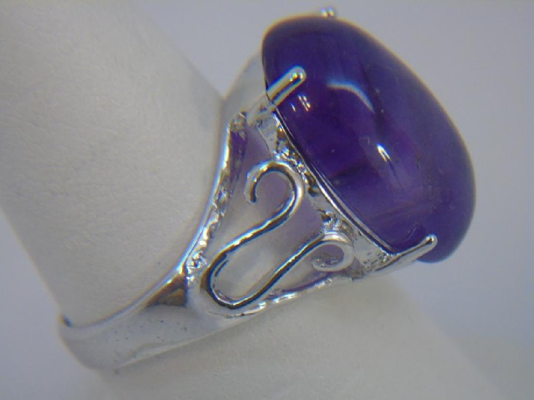 Large Cabochon Amethyst & Sterling Cocktail Ring - 3
