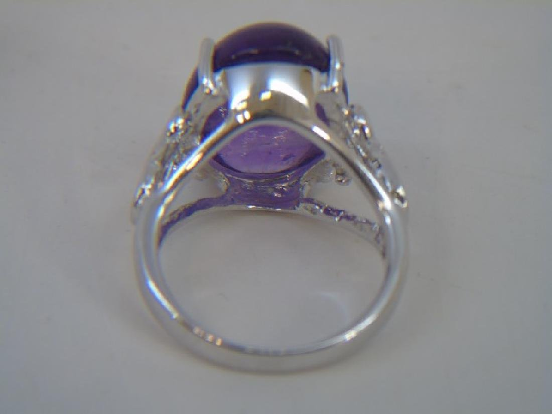Large Cabochon Amethyst & Sterling Cocktail Ring - 4