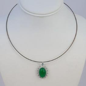 Large Cabochon Cut Chinese Jade Necklace Pendant