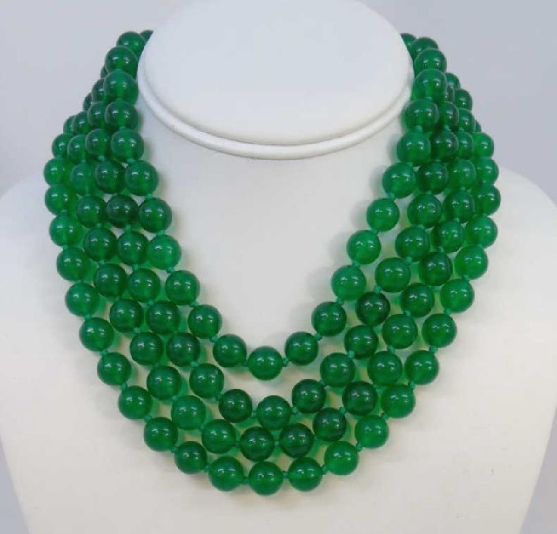 Four Strands of Chinese Green Jade Necklaces