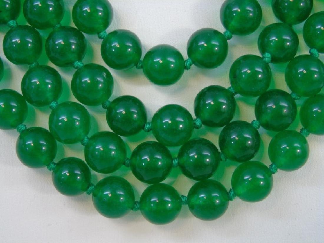 Four Strands of Chinese Green Jade Necklaces - 3