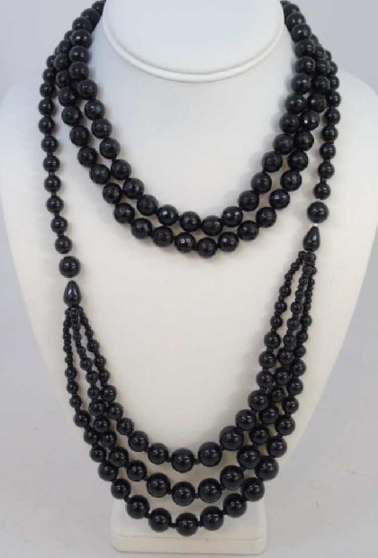 Pair Facet Onyx Necklaces & Multi Strand Necklace