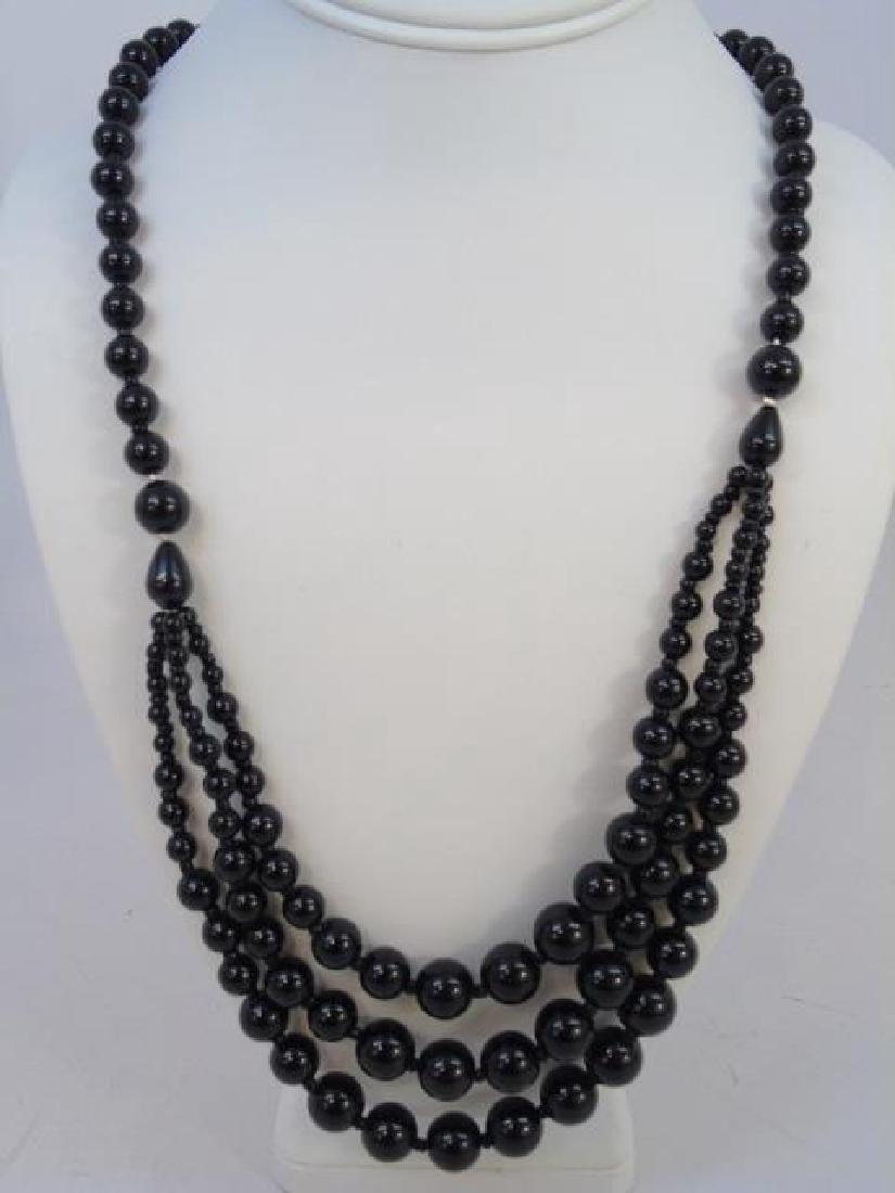 Pair Facet Onyx Necklaces & Multi Strand Necklace - 3