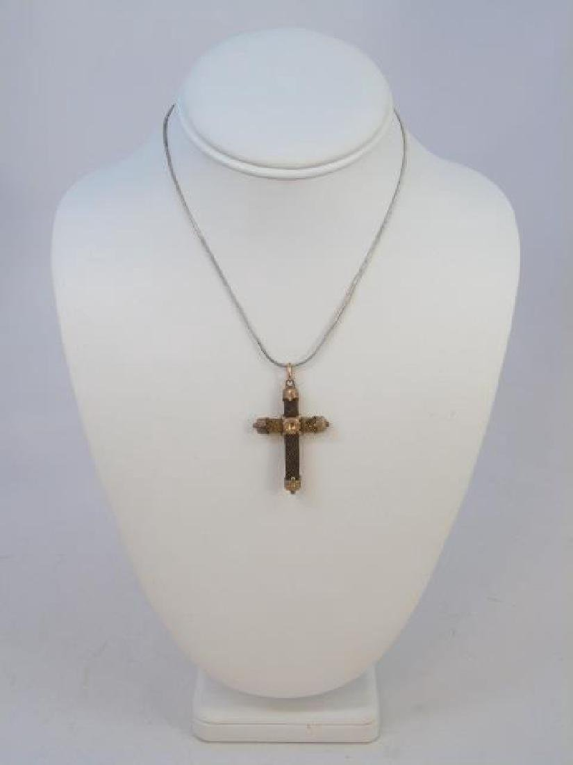 Antique 19th C Victorian Mourning Hair Gold Cross - 2